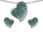 Star K Simulated Emerald Heart Shape Love Pendant With Matching Earrings Style number: 306339
