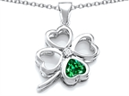 Celtic Love By Kelly Large 7mm Heart Shape Simulated Emerald Lucky Clover Heart Pendant Style number: 306649
