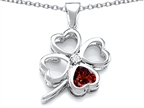 Celtic Love By Kelly Large 7mm Heart Shape Simulated Garnet Lucky Clover Heart Pendant Style number: 306650