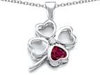 Celtic Love By Kelly Large 7mm Heart Shape Created Ruby Lucky Clover Heart Pendant Style number: 306655