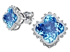 Original Star K Clover Earrings Studs with 8mm Clover Cut Simulated Blue Topaz Style number: 306790