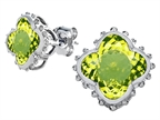 Original Star K Clover Earrings Studs with 8mm Clover Cut Simulated Peridot Style number: 306791