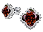 Original Star K Clover Earrings Studs with 8mm Clover Cut Simulated Garnet Style number: 306794
