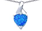 Original Star K 8mm Heart Shape Simulated Blue Opal Ribbon Pendant Style number: 306819