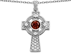 Original Star K Celtic Cross pendant with 7mm Round Simulated Garnet Style number: 306854