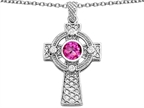 Original Star K Celtic Cross pendant with 7mm Round Created Pink Sapphire Style number: 306858