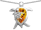 Original Star K Large Mother and Baby Turtle family Pendant with 12x8mm Pear Shape Simulated Citrine Style number: 306919