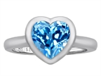 Star K 8mm Heart Shape Solitaire Ring With Simulated Blue Topaz Style number: 306975