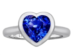 Star K 8mm Heart Shape Solitaire Ring With Created Sapphire Style number: 306981