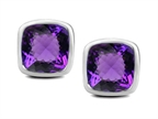 Original Star K 8mm Cushion Cut Simulated Amethyst Earrings Studs Style number: 307040