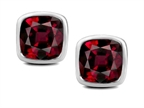 Original Star K 7mm Cushion Cut Genuine Garnet Earrings Studs Style number: 307045
