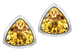 Original Star K 7mm Trillion Cut Simulated Citrine Earrings Studs Style number: 307151