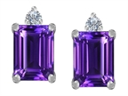 Original Star K 8x6mm Emerald Octagon Cut Simulated Amethyst Earrings Studs Style number: 307175