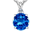 Original Star K Large 12mm Round Simulated Blue Topaz Pendant Style number: 307235