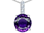 Original Star K Large 12mm Round Simulated Amethyst Pendant Style number: 307336