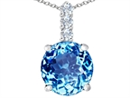 Original Star K Large 12mm Round Simulated Blue Topaz Pendant Style number: 307338