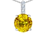 Original Star K Large 12mm Round Simulated Citrine Pendant Style number: 307350