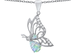 Original Star K Butterfly Pendant With 9x6mm Pear Shape Simulated Opal Style number: 307391