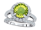 Original Star K 8mm Round Simulated Peridot Engagement Wedding Set Style number: 307399
