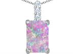 Original Star K Large 14x10mm Emerald Cut Simulated Pink Opal Pendant Style number: 307457