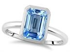 Tommaso Design 8x6mm Emerald Octagon Cut Simulated Aquamarine Engagement Solitaire Ring Style number: 307612