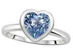 Tommaso Design 7mm Heart Shape Simulated Aquamarine Engagement Solitaire Ring Style number: 307625
