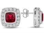 Star K 7mm Cushion Cut Created Ruby Halo Earrings Studs Style number: 307664