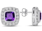 Star K 7mm Cushion Cut Simulated Amethyst Halo Earrings Studs Style number: 307665