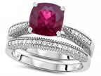Original Star K Cushion Cut 7mm Created Ruby Engagement Wedding Set Style number: 307726