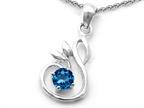 Original Star K Round Genuine Blue Topaz Swan Pendant Style number: 308046