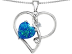 Original Star K 10mm Heart Shape Simulated Blue Opal Knotted Heart Pendant Style number: 308050