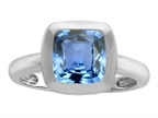 Star K 8mm Cushion Cut Solitaire Ring With Simulated Aquamarine Style number: 308073