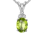 Tommaso Design Oval Genuine Peridot and Diamond Pendant Style number: 308144