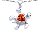 Original Star K Large 10mm Heart Shape Simulated Orange Mexican Fire Opal Sea Turtle Pendant Style number: 308207