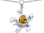 Original Star K Large 10mm Heart Shape Simulated Imperial Yellow Topaz Sea Turtle Pendant Style number: 308208