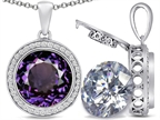 Switch-It Gems 2in1 Round 10mm Simulated Alexandrite Pendant Necklace with Interchangeable Simulated White Topaz Includ Style number: 308245