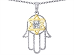 Tommaso Design Large Hamsa Hand Jewish Star of David Kabbalah Protection Pendant Style number: 308276