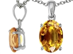 Tommaso Design Oval 8x6mm Genuine Citrine Pendant Style number: 308395