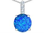 Original Star K Large 12mm Round Simulated Blue Opal Pendant Style number: 310768