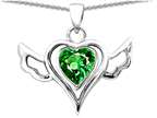 Original Star K Wings Of Love Pendant with Heart 7mm Simulated Emerald Style number: 310769