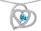 Original Star K 6mm Heart Shape Simulated Blue Topaz Pendant Style number: 310841