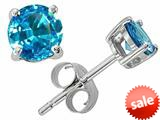 Tommaso Design™ Round Genuine Blue Topaz Earrings Studs style: 21558