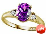 Tommaso Design™ Oval 9x7mm Genuine Amethyst and Diamond Ring