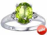 Tommaso Design™ 8x6mm Oval Genuine Peridot and Diamond Ring
