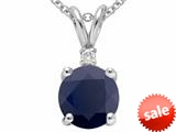 Tommaso Design™ Round 7mm Genuine Black Sapphire Pendant