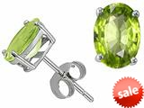 Tommaso Design™ 7x5mm Oval Genuine Peridot Earring Studs