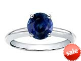 Tommaso Design™ 7mm Round Genuine Sapphire Classic Solitaire Engagement Ring
