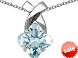 Tommaso Design™ Clover Cut 8mm Faint Blue Genuine Aquamarine Pendant style: 23262