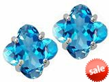 Tommaso Design™  Clover Cut Genuine Blue Topaz Earrings