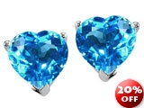 Tommaso Design™ Heart Shape Genuine Blue Topaz Earrings Studs style: 23305